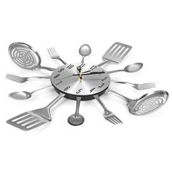 Kitchen Clocks Countertops Lowes Cutlery Design Wall Clock Metal Knife Fork Spoon Creative Modern Home Decor Unique Style Watch Silver Artistic Bath