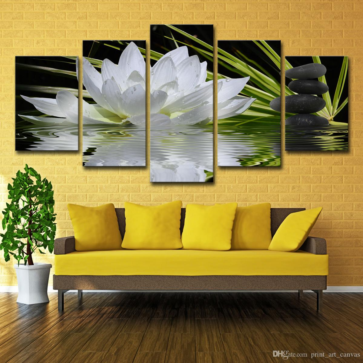 artwork for kitchen las vegas strip hotels with canvas paintings wall art white lotus stones pictures hd prints flowers lake water posters home decor canada 2019 from print