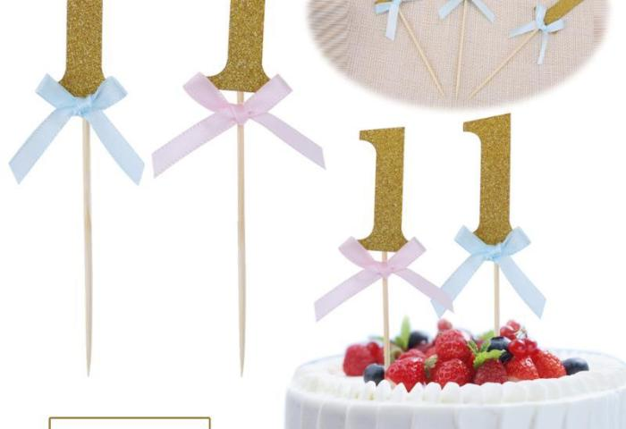 2019 Glitter Number 1 Happy First Birthday Cupcake Toppers 1st Baby