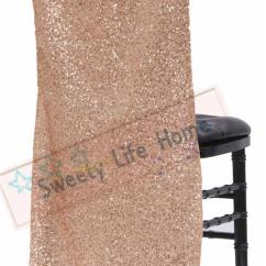 Large Banquet Chair Covers Dining Room Chairs With Casters New Products Sequin Chiavari Glitz Cover For Party Events Rose Gold Slub Cap Decorations Slipcover Rental