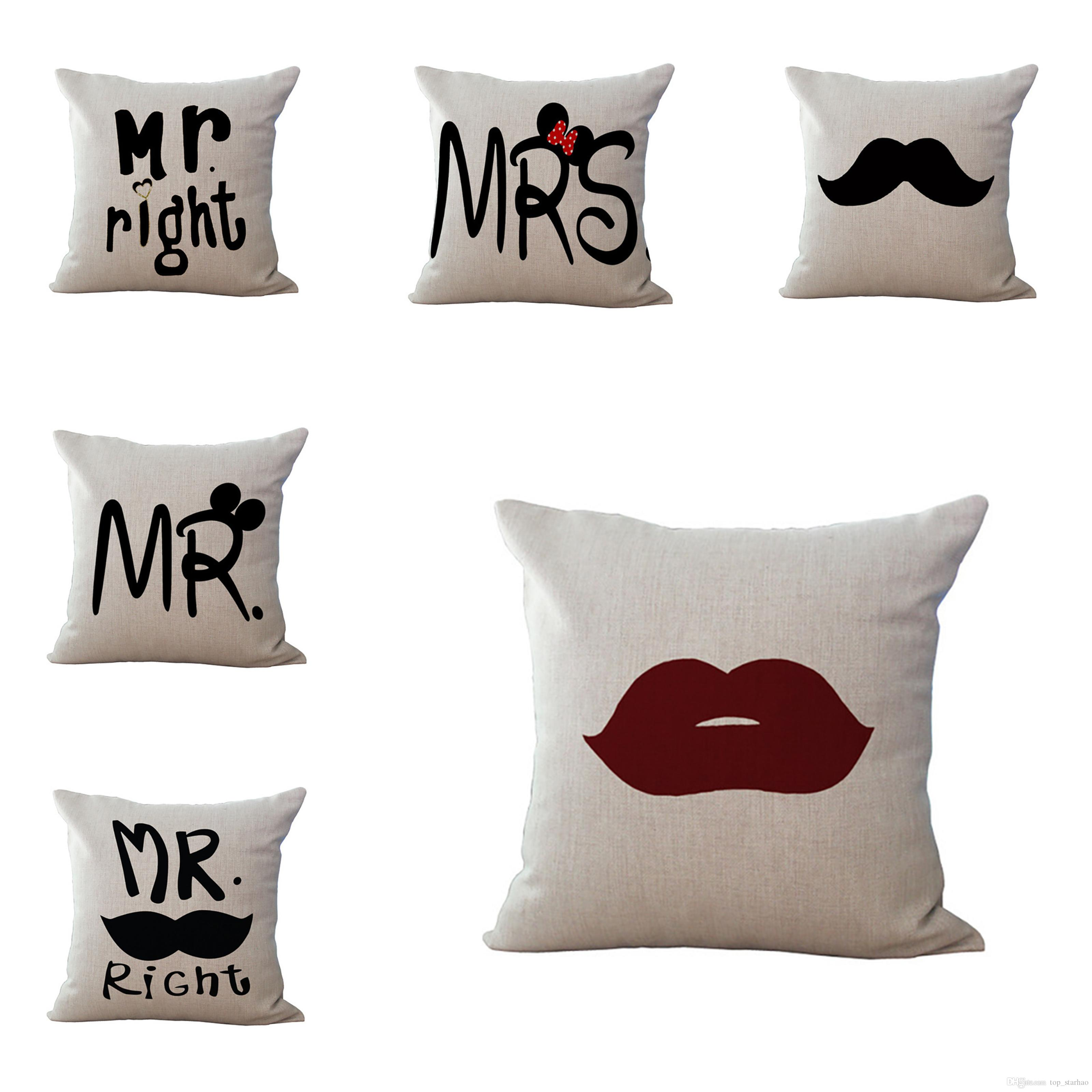 sofa box cushion covers white chesterfield hire 2018 new decorative mr mrs always right square cover customized pillow case the wedding letters cushions linen xl 468 throw