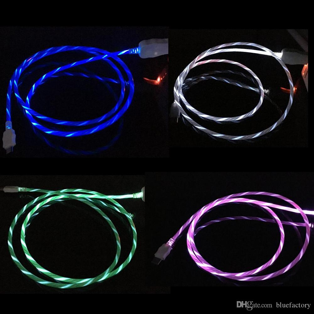 medium resolution of led flowing visible flashing cable micro usb data sync charging cord 1m 3ft light up type c cable wire for samsung s8 s9 plus htc universal internet cables