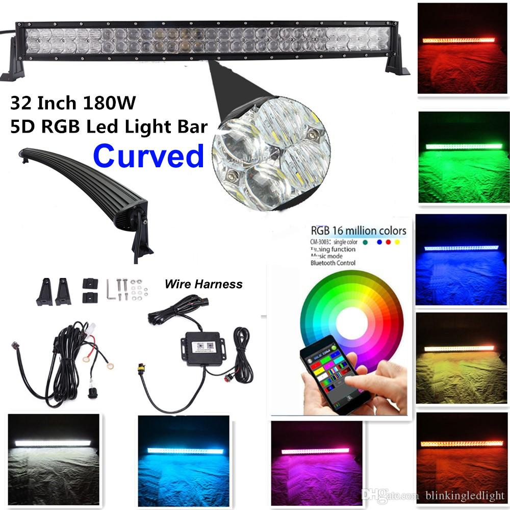 hight resolution of 32 180w 5d rgb led light bar strobe flash multicolor led warning light bluetooth app control free wiring harness