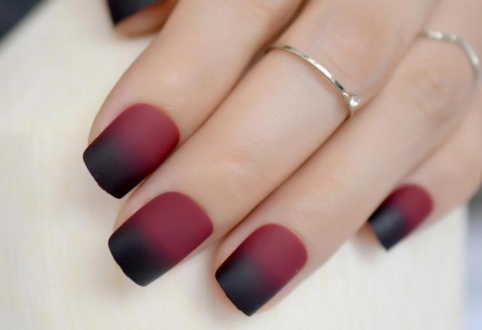 Compre Gradient Frosted Fake Nail Artificial Nails Vino Tinto Negro