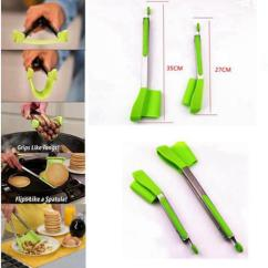Kitchen Tongs Average Cost Of New Cabinets Clever Spatula Tong 2 In 1 Non Stick Heat Resistant Helper Frame Tools Kka4546
