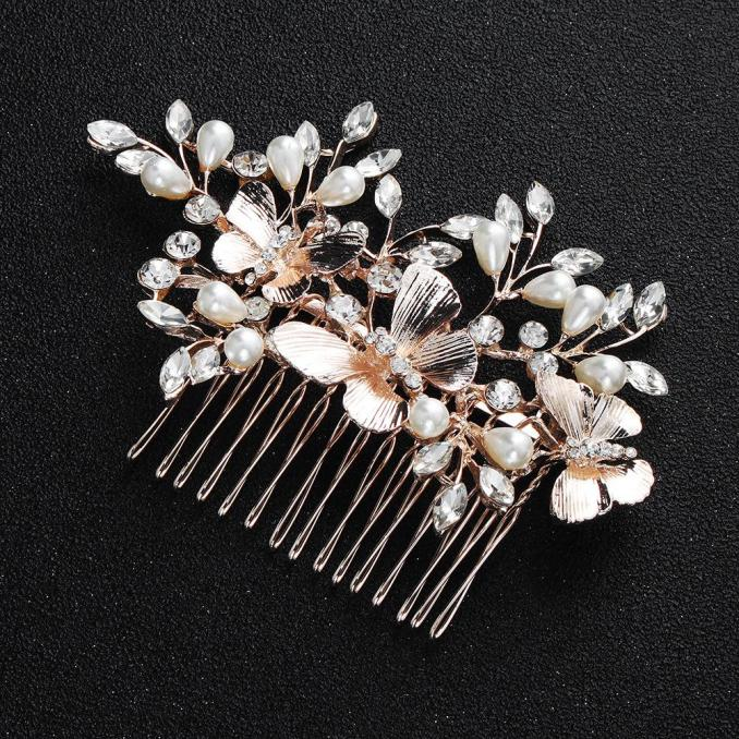 new aesthetic alloy bridal insert comb butterfly imitation pearl with rhinestone hair accessories wedding headwear factory direct