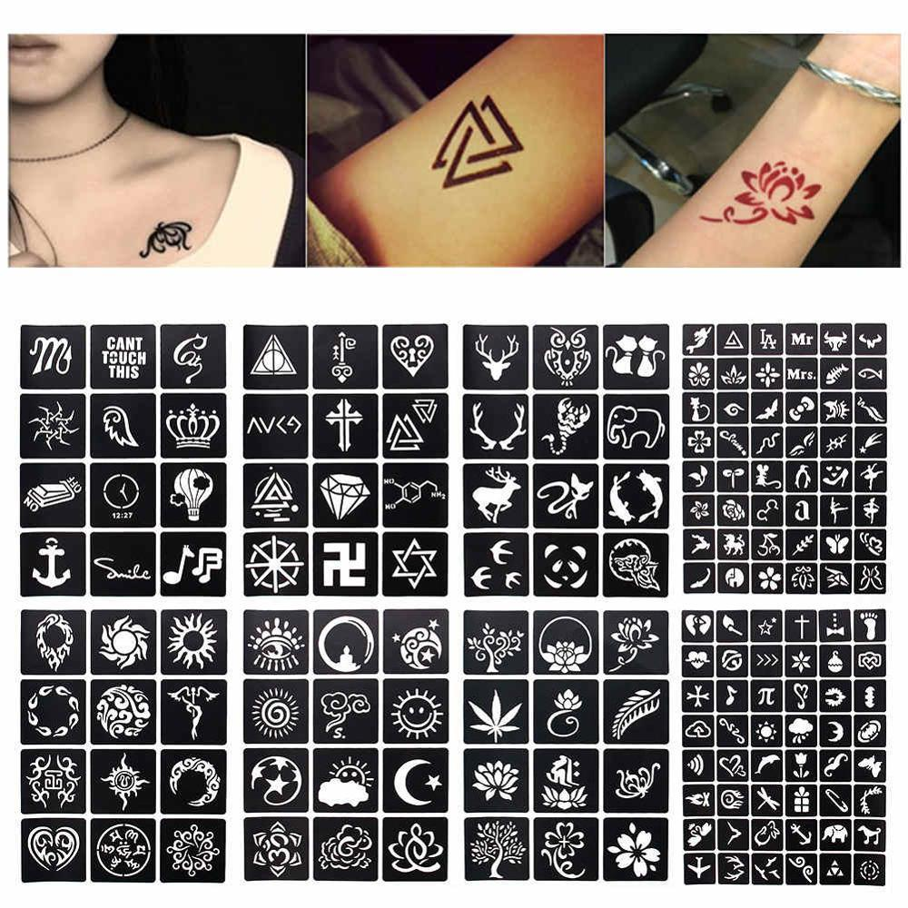 1 Hoja 4812 Mapas Glitter Tattoo Stencil Geometría De Flores