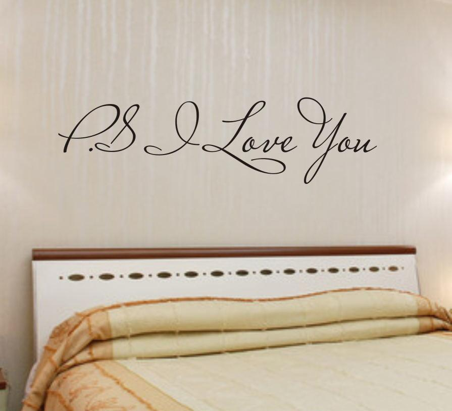 Ps I Love You Quotes Wall Stickers Living Bedroom Decorations