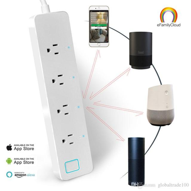 Smart Wifi Power Strip Surge Protector 4 Outlet Wireless Power Extension Socket Works With Amazon Alexa Echo Eu Us Plug