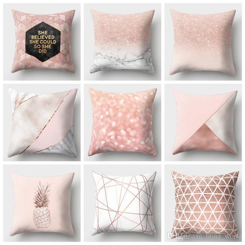 acheter geometrique oreiller couvre coussins de style nordique couvre rose or coussin couvre rose chambre canape decor a la maison 39 designs yw1535 de