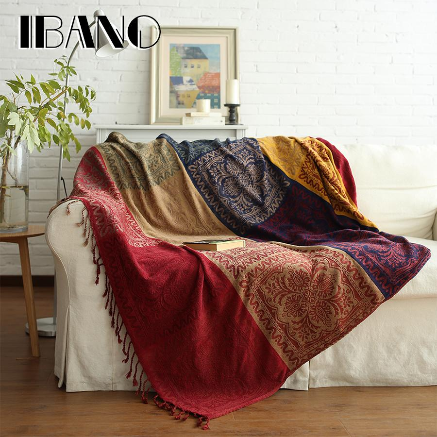 bohemian sofa bed expo new york 2017 ibano chenille plaids blanket decorative throws on plane 150x190cm cobertor with tassel purple heated throw