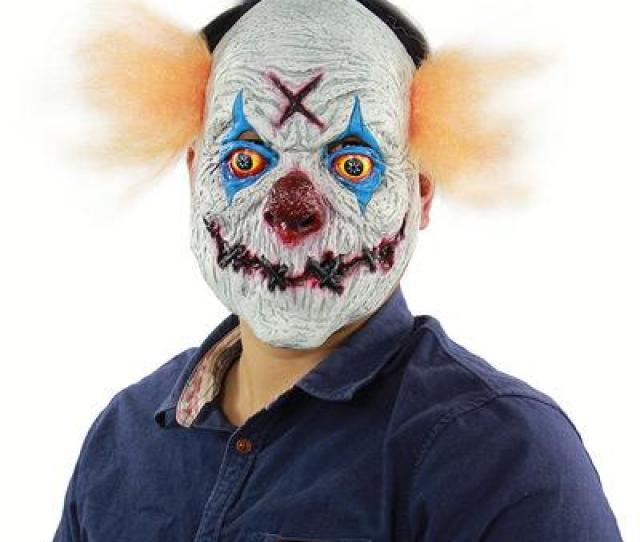 Halloween Horror Human Clearance Plan Revenge Clown Mask Halloween Christmas Engaged Bar Dance Party Props Strange Latex Scary Mask Goods Horror Ghost Face