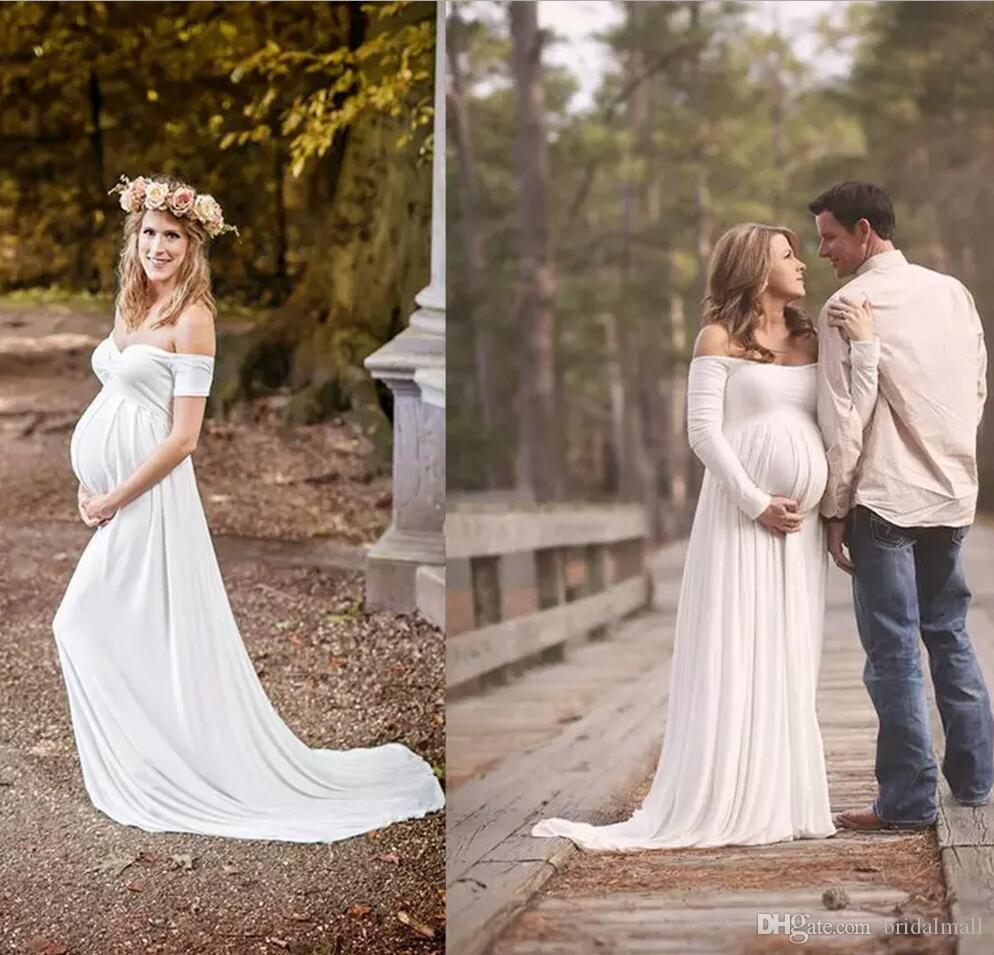Discount 2018 Maternity Wedding Dresses Empire White Soft Chiffon Off The Shoulder Simple Bridal