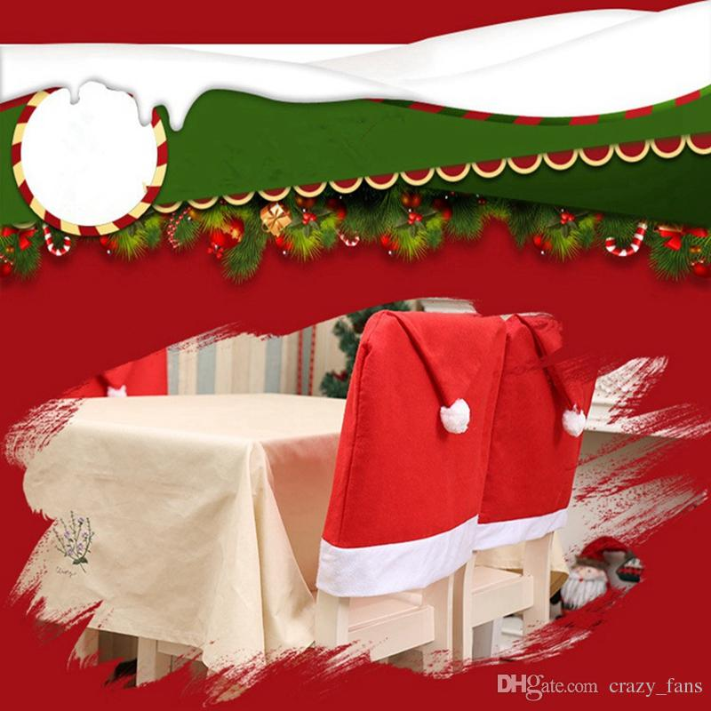 how to make kitchen chair back covers la z boy desk santa hat clause red for christmas holiday festive decor xmas decoration items