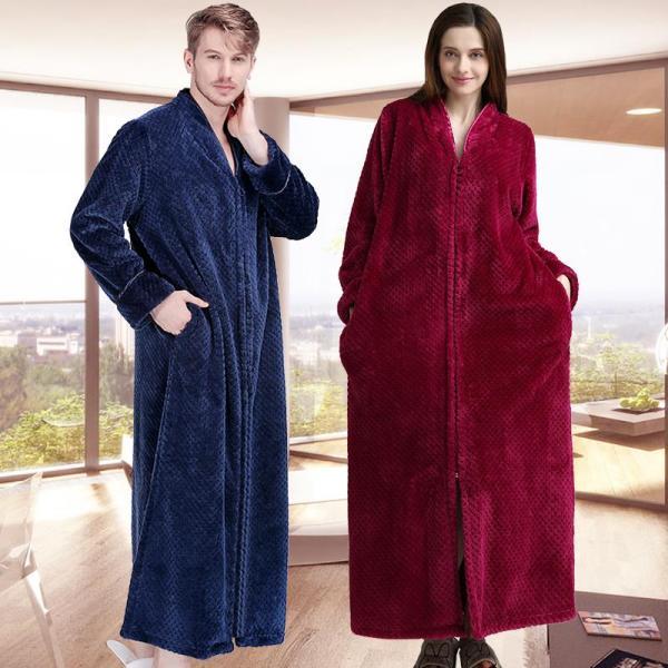 2019 Women Men Extra Long Winter Warm Bathrobe
