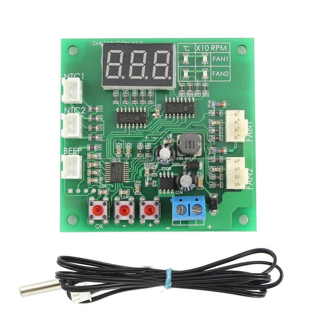 hight resolution of 2019 fan thermostat governor 2 way 4 wire pwm dc 12v 24v 48v temperature speed with digital led dispaly from zhenyuan666 22 82 dhgate com