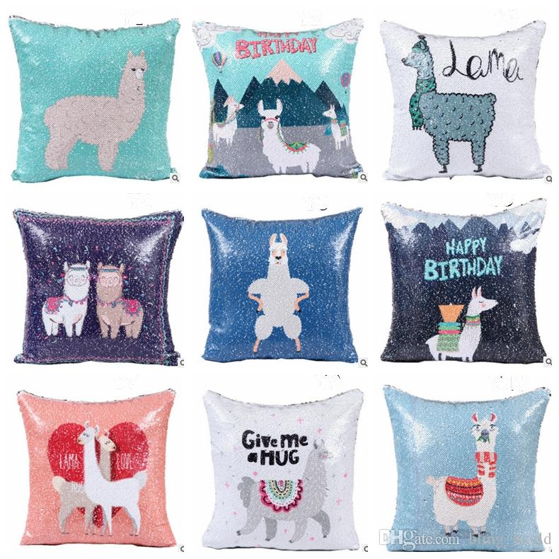 diy outdoor chair cushion covers high floor mat nz sequins pillow alpaca throw case decorative cover glitter pillowslip wedding party favor 10 designs 20pcs yw1582