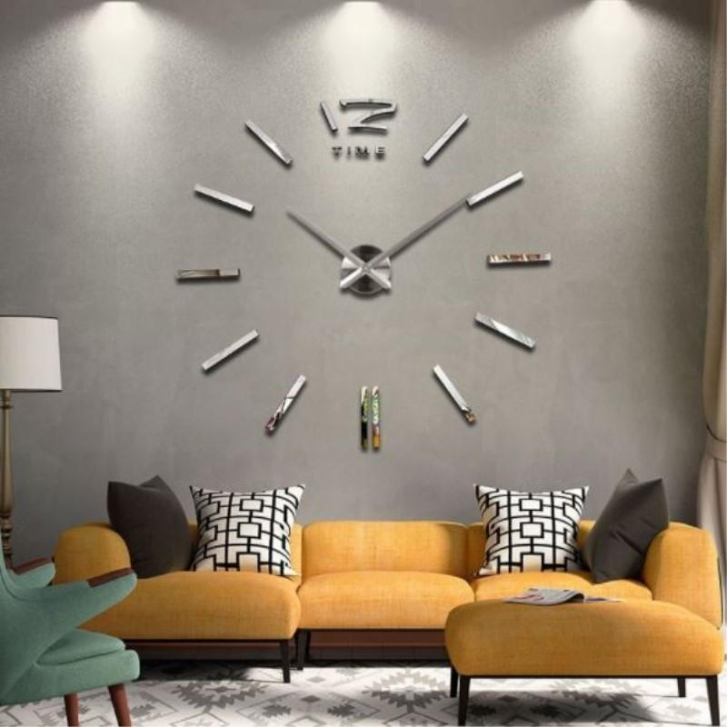 big wall clocks for living room art van furniture 3d watch 2018 clock diy mirror sticker home decor fashion watches quartz large colorful
