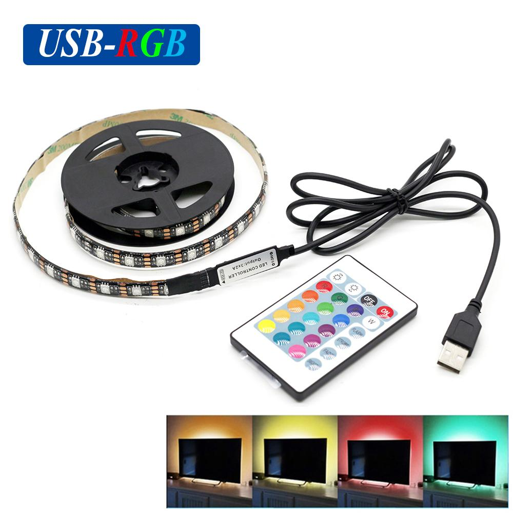medium resolution of dc5v usb rgb led strip smd5050 flexible light lamps led light tv background lighting adhesive tape 50cm 1m 2m rgb remote control connecting led strips