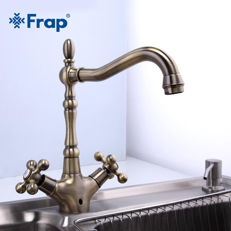 wholesale kitchen faucets honest beams 2019 antique brass bathroom sink faucet spout double cross handle 360 degree swivel bath basin mixer tap f4019 4 from