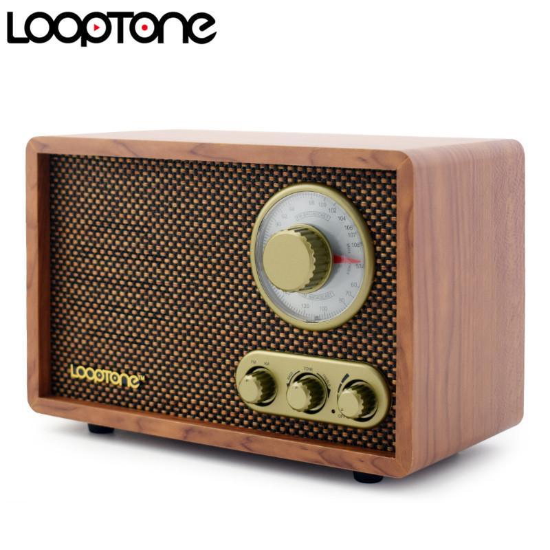 acheter radio hi fi de table looptone de table radio retro vintage retro avec haut parleur integre controle du bois treblebass de 77 34 du ruport dhgate