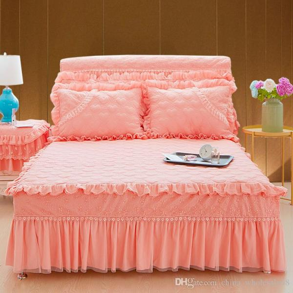 Princess Lace Purple Pink Beige Bed Skirt King Queen Full Size Home Decorative Ruffles Bedspread