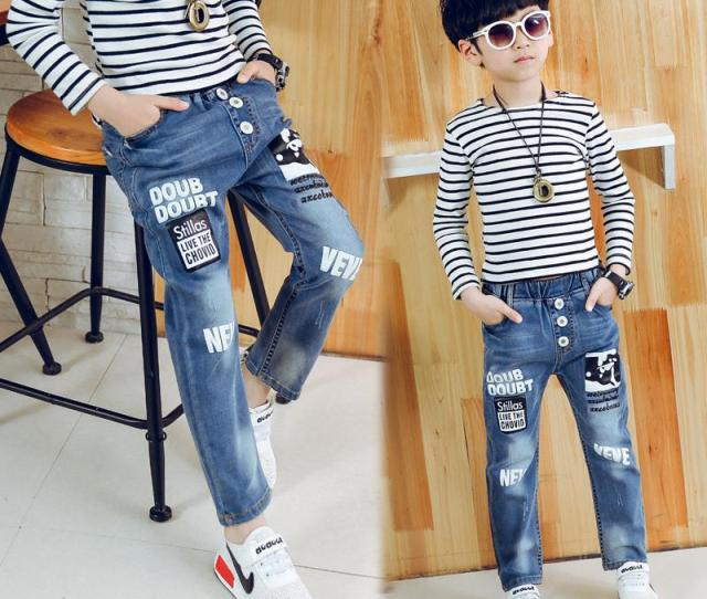 High Quality New Autumn Teens Jeans For Elastic Waist Fashion Jeans Childrens Elastic Waist Denim Long Pant Hot Sale Toddler Boy Skinny Jeans Girls