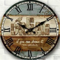 Rustic Kitchen Clock Replacing Sink Wholesale 34cm Vintage Wood Wall Large Circular Digital Home Decor Bedroom Crafts With Bird Print Small Clocks For
