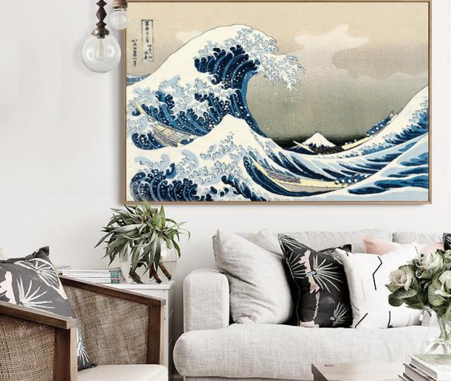 The Great Wave Off Kanagawa Poster Japanese Home Accessories Decorative Painting Silk Wallpaper Printing Process Hh Great Wave The Great Wave Decorative