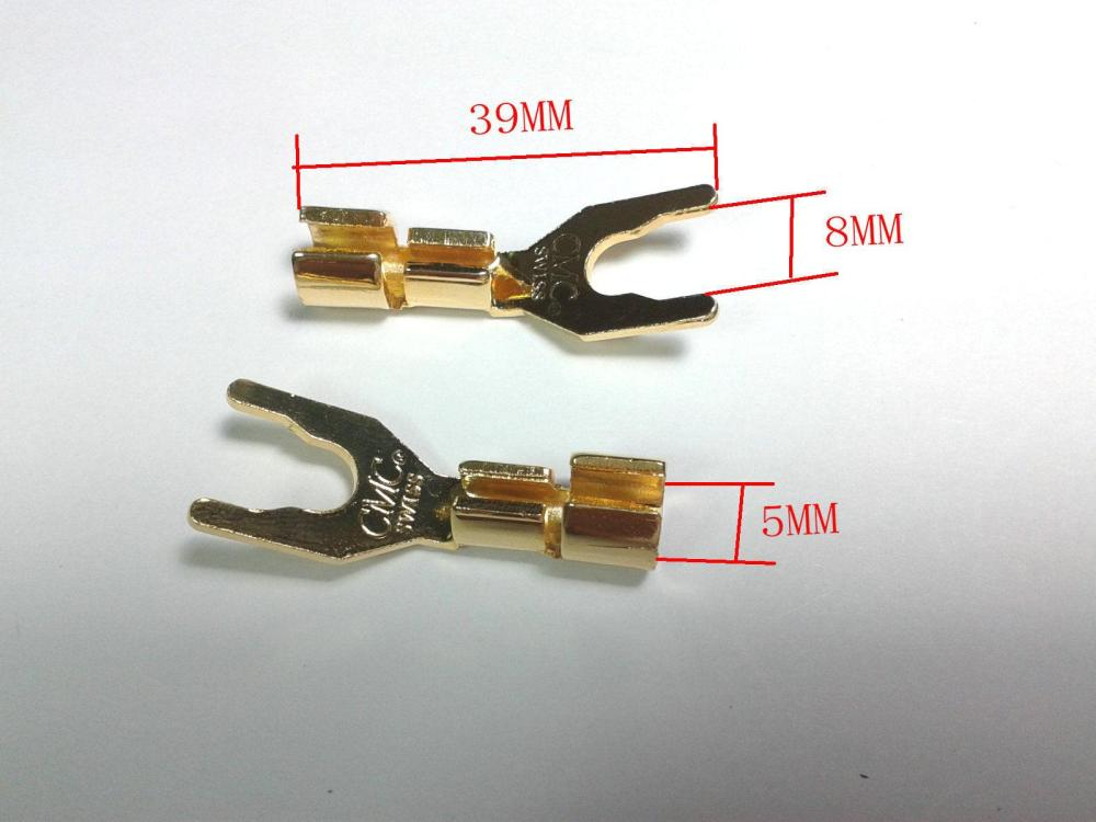 medium resolution of 2019 copper speaker cable spade connector terminal plug gold plated from ann good 23 2 dhgate com