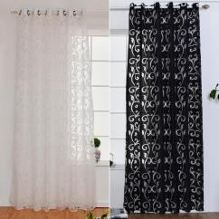 Black And White Curtains For Living Room Furniture Arrangements With Fireplace 2019 Curtain Window Jacquard Fabrics Luxury Semi Blackout Panel Short From Bassy168