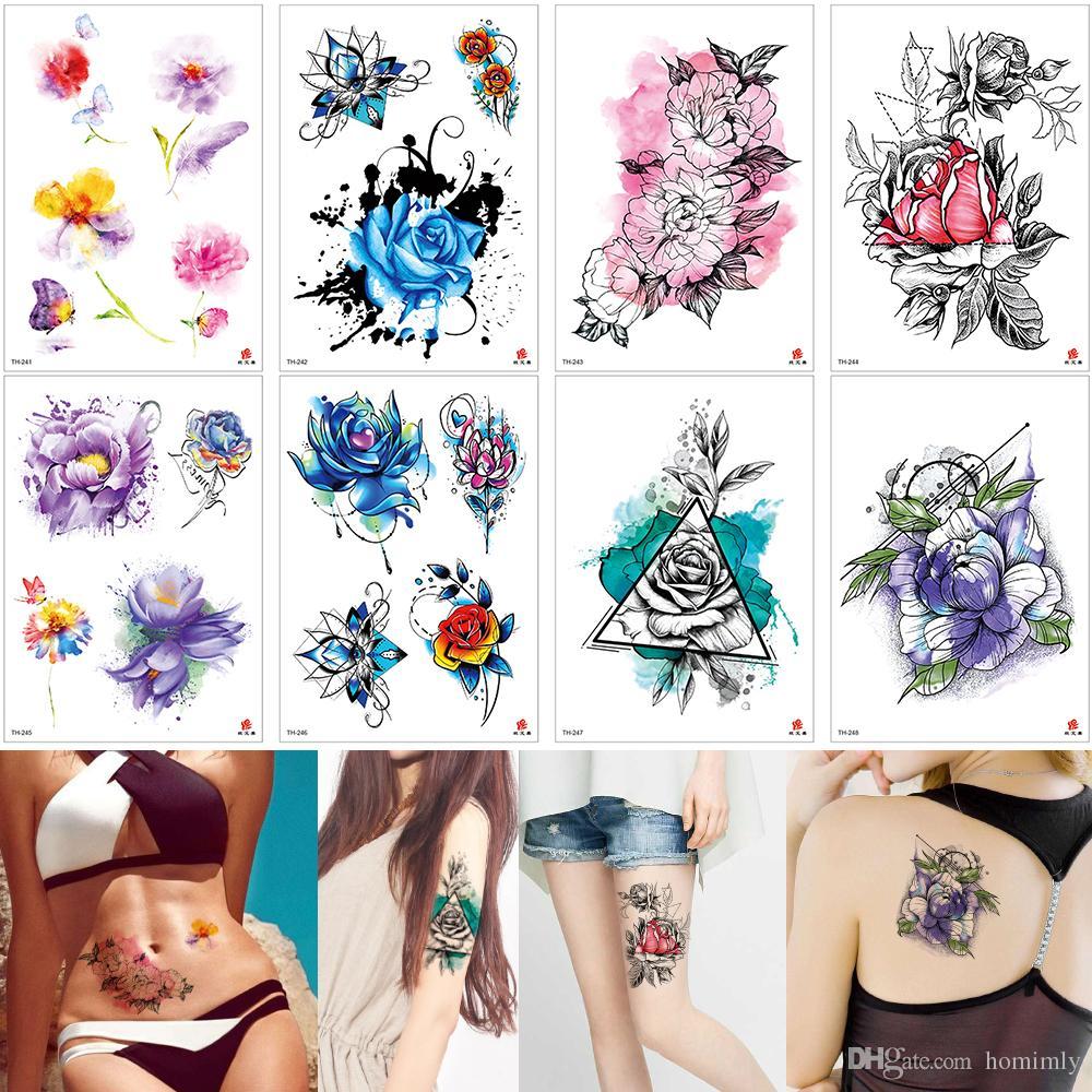 Acuarelas Flor De Ciruelo Flor Temporal Tatuajes Pintura Para Mujer