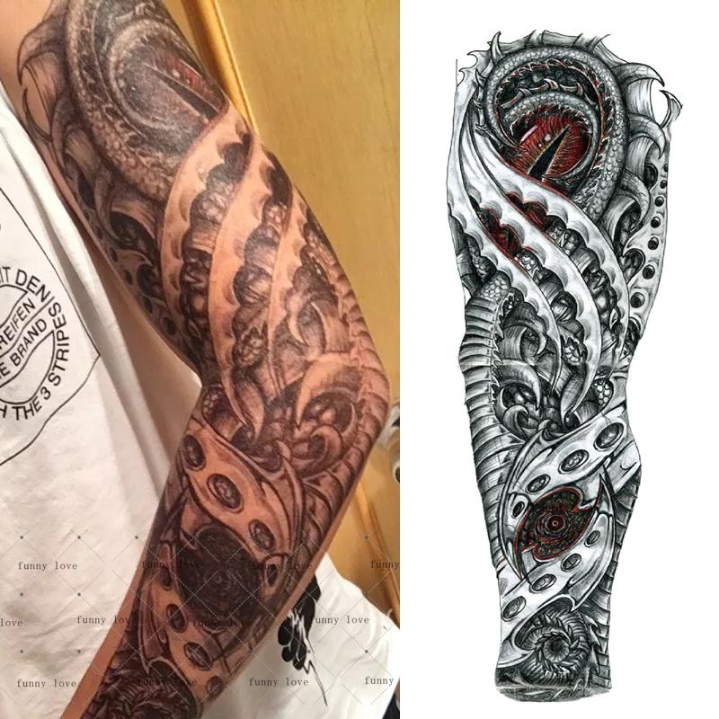Brazo Completo Tatuaje Temporal A Prueba De Agua Fresco Gris Dragón