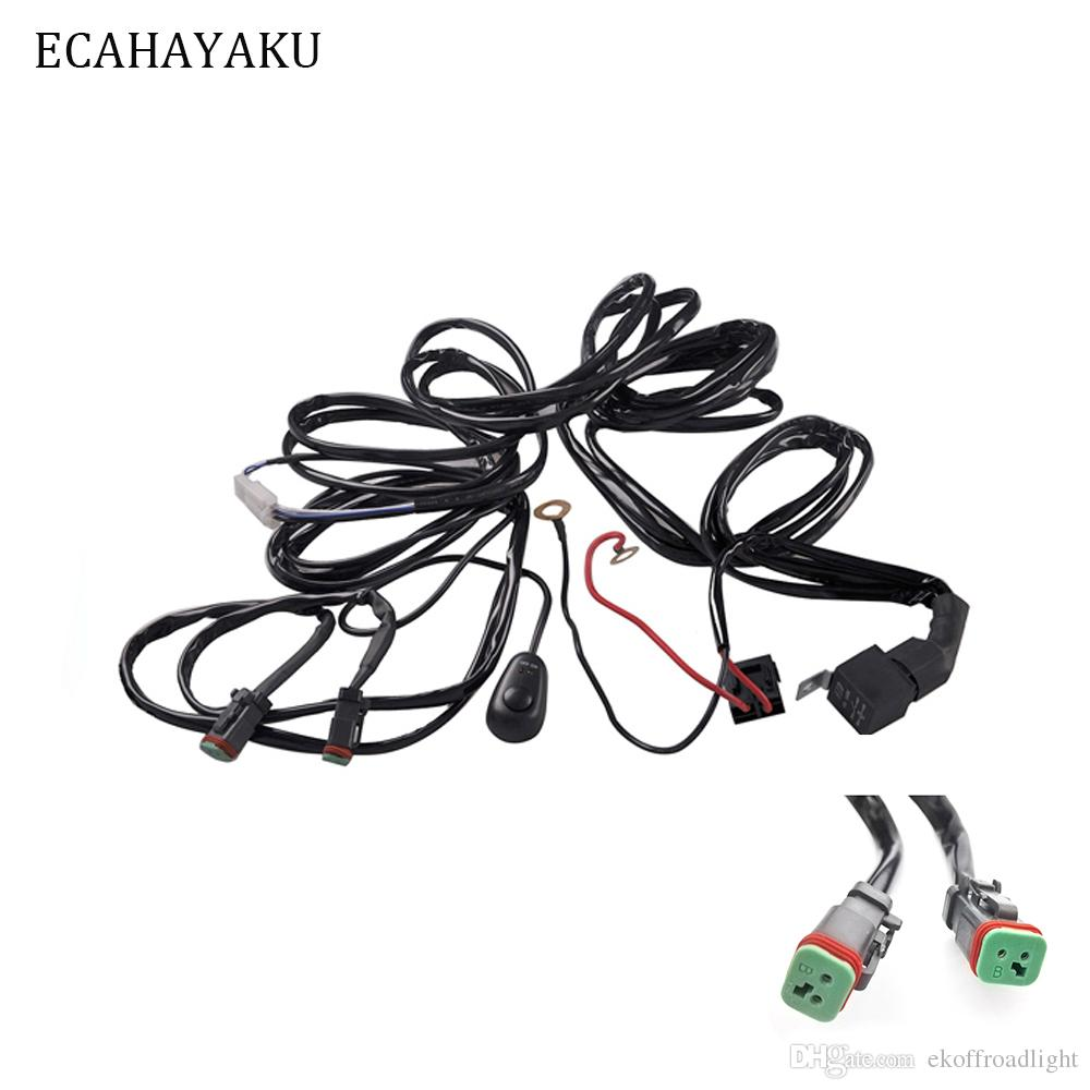 hight resolution of 2019 ecahayaku car auto led work driving lights wiring loom harness offroad light bar 3 metes wire cable 40a 12v 24v switch relay kit from ekoffroadlight