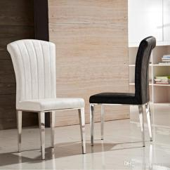 White Leather Chairs For Living Room Walmart Computer Chair 2019 Premium Stainless Steel Dining Luxury Black And Pu High Elastic Back Furniture From