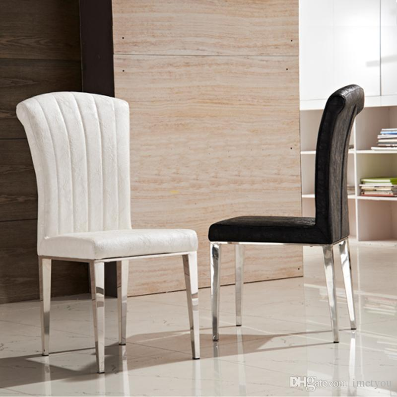 white leather chairs dining ebay uk poang chair covers 2019 premium stainless steel luxury black and pu high elastic back living room furniture from