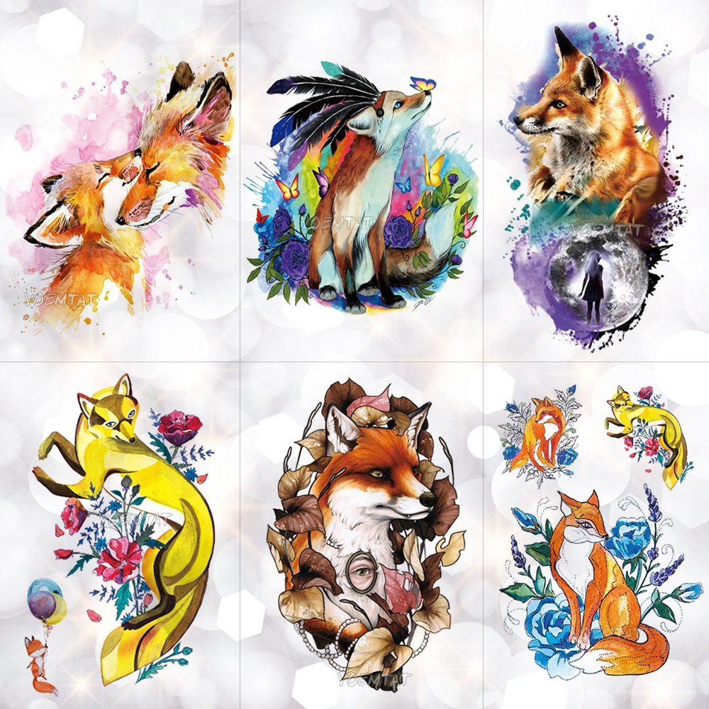 Fire Fox Rose Wolf Feather Acuarela Etiqueta Engomada Del Tatuaje