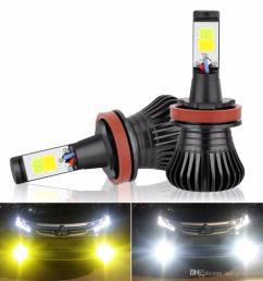 2x h11 h8 h9 led fog light bulb drl lamp dual colorwhite and yellow in one design white and amber switch freely 12v 2800lm auto bulb led fog light bulbs  [ 1000 x 1000 Pixel ]