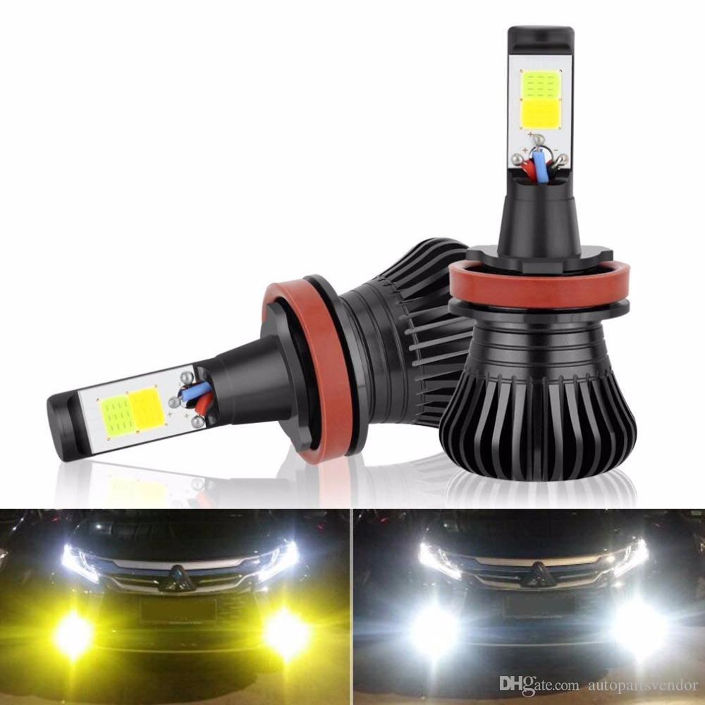 hight resolution of 2x h11 h8 h9 led fog light bulb drl lamp dual colorwhite and yellow in one design white and amber switch freely 12v 2800lm auto bulb led fog light bulbs