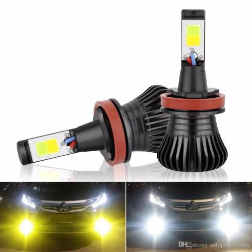 small resolution of 2x h11 h8 h9 led fog light bulb drl lamp dual colorwhite and yellow in one design white and amber switch freely 12v 2800lm auto bulb led fog light bulbs