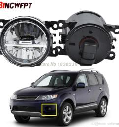 pair fog lamp assembly 12v h11 led fog light halogen lamps for mitsubishi outlander 2 ii cw w 2006 2009 hid light car hid light conversion from carfansauto  [ 1000 x 1000 Pixel ]