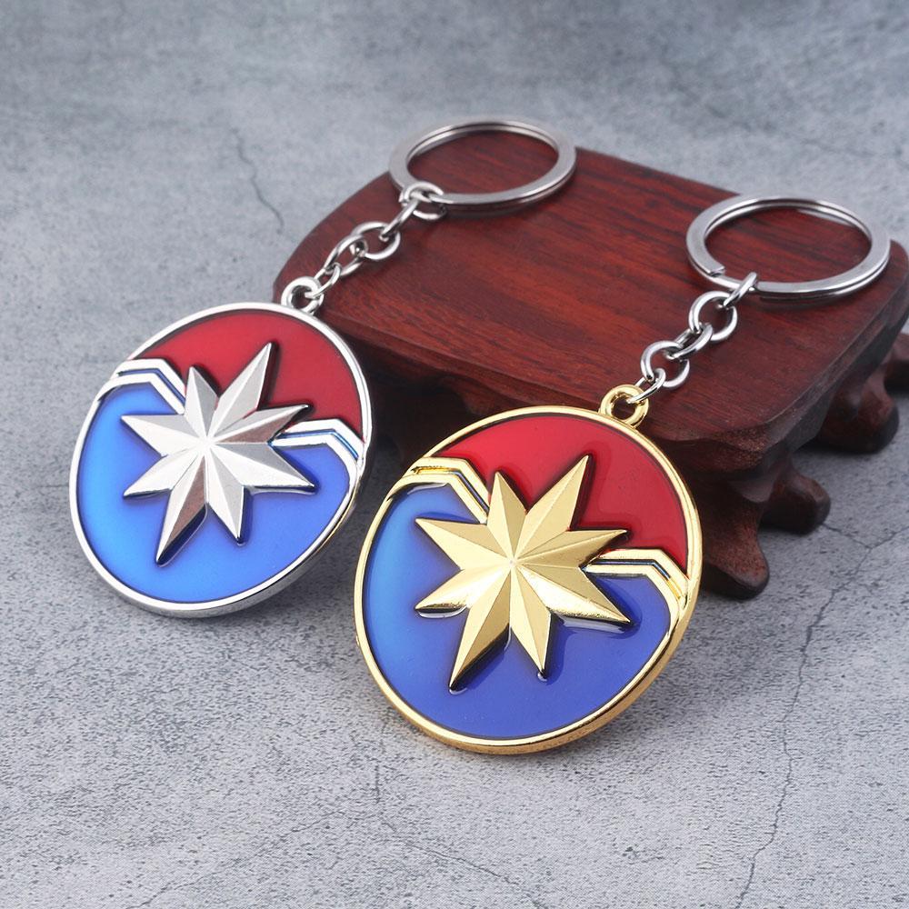 marvel jewelry captain marvel shield keychain the avengers 4 superhero  carol danvers charms key chains for women men jewelry