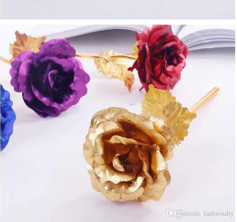 Heißer Verkauf Liebe Blumen 24 Karat Goldene Rose Hochzeit Dekoration Geburtstag Goldene Blume Romantische Valentinstag Dekorationen Geschenk Gold R