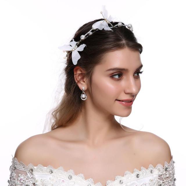 bridal hair vine ribbon headband butterfly crystals pearl wedding headbands for bridesmaid and flowergirls hair accessories