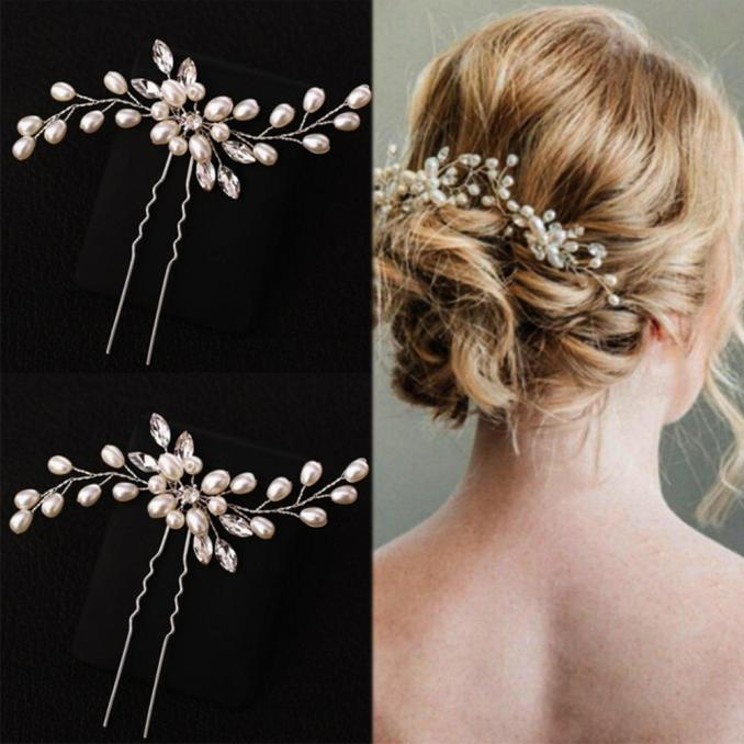 cn hair accessories silver bridal veil pearl hairpins for girls wedding party women bridesmaid crystal flower hair clips