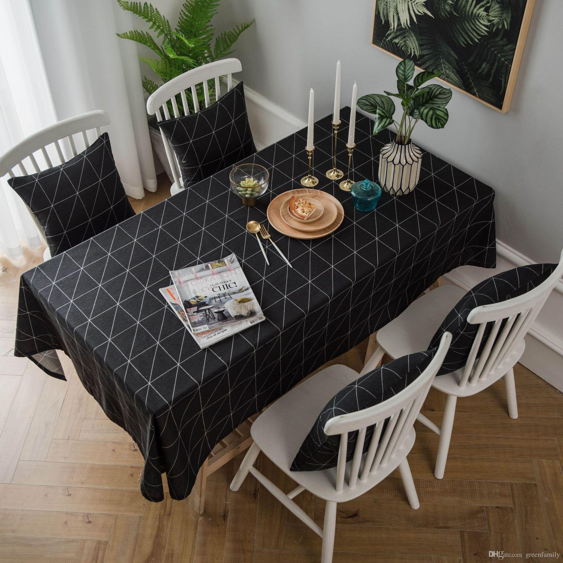 modern art chair covers and linens office seat cushions table cloth minimalist tablecloth black white geometric cheap placements best baby play tables