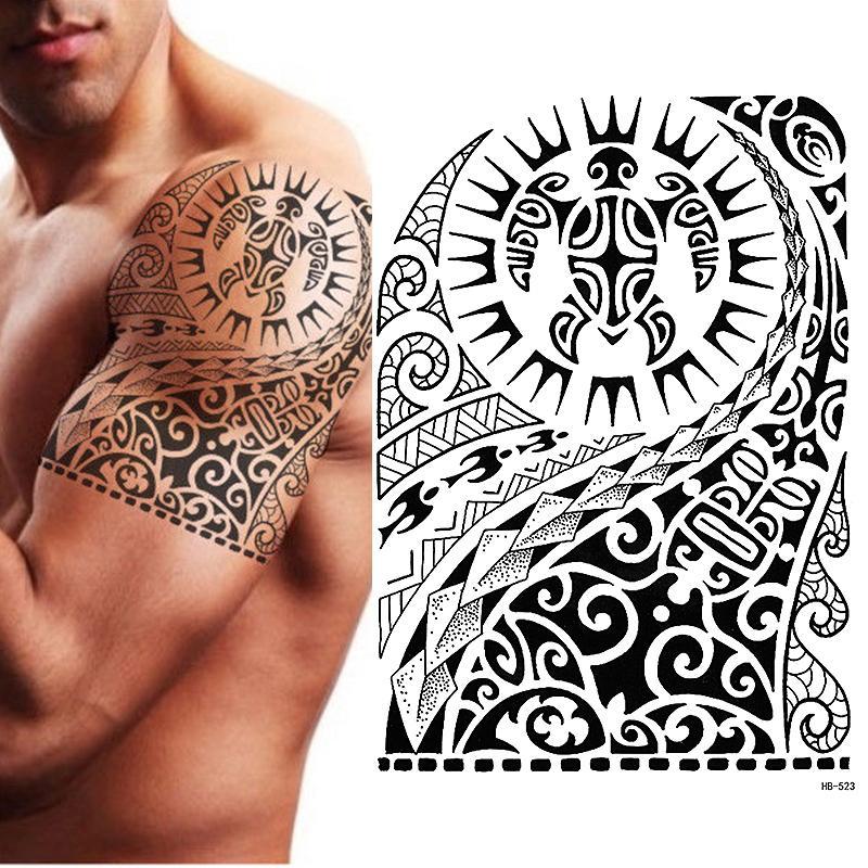 Tatuaje Temporal Tribal Tortuga Maori Polinesia Negro Hombre