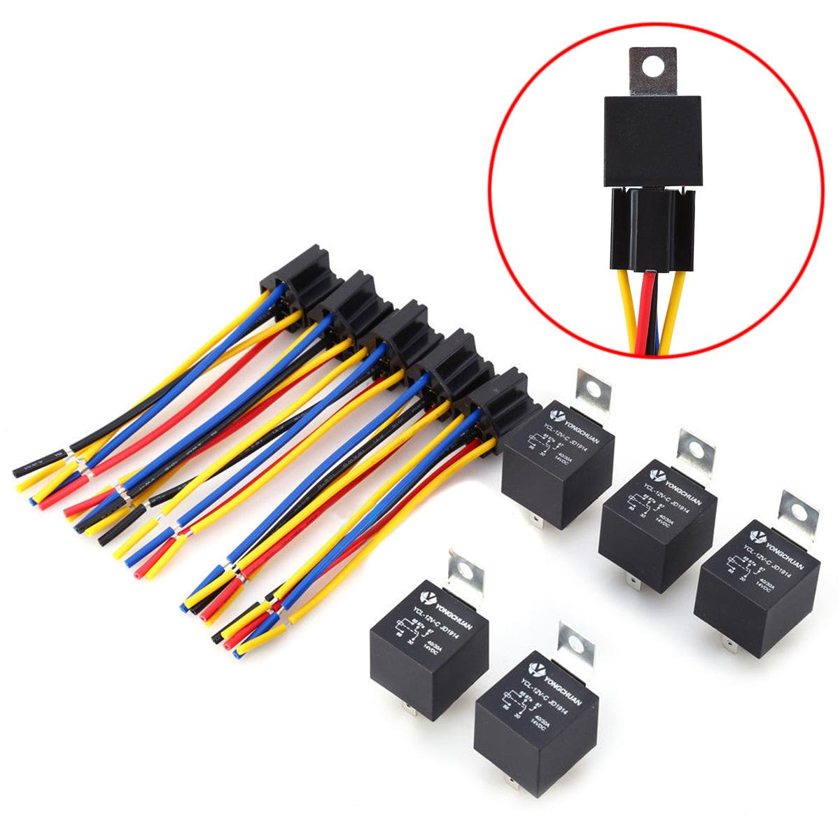 hight resolution of 2019 dc 12v 40a amp relay socket spdt 5 pin 5 wire ycl 12v c 12v 30 40a 5pin automotive relays w dual socket 5 wire wiring
