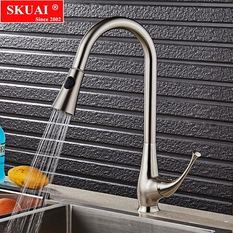 brushed nickel kitchen faucet with sprayer lights for under cabinets 2019 sink mixer taps 360 degree single lever pull out dual tap torneira from blithenice 122 99 dhgate com
