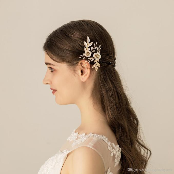 2 pieces hairpins for girls hair accessories cute flowers gold leaves bridal wedding hair jewelry hair clip h287